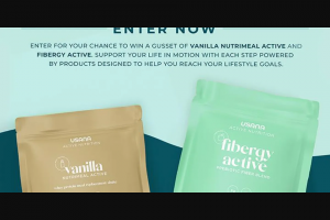 """Usana – Active Nutrition – Win one (1) 840g gusset bag of USANA Nutrimeal Active (Vanilla Flavor) (""""Nutrimeal Active"""") and one (1) bag of USANA Fibergy Active (""""Fibergy Active"""") (collectively"""