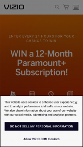 """Vizio – Tune In To Win Giveaway – Win the following prize bundle (""""Prize"""")  ?One (1) Paramount 12-month Essential Plan subscription (ARV $59.88) Total ARV of each Prize for the Sweepstakes is estimated to be $59.88."""