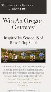 Willamette Valley Vineyards – Oregon Getaway Sweepstakes