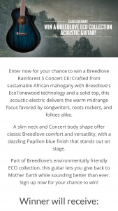 Zzounds – Breedlove Eco Collection Giveaway – Win one (1) Breedlove ECO Rainforest S Concert CE acoustic-electric guitar