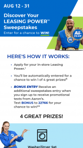 Aaron's – Summer Discover Your Leasing Power – Win one Envy II Sofa/Chaise
