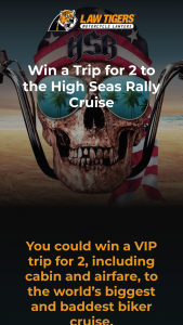 American Association Of Motorcycle Injury Lawyers – High Seas Rally – Win package from Law Tigers Estimated total prize value  $12000±  (Per video includes $2000 in cash and prizes)