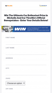 Autovia – Win A Set Of Michelin Pilot Sport Tires And More Courtesy Of Michelin And Car Throttle Sweepstakes