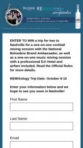 Belvedere Vodka – Remixology Trip To Nashville – Win the following Roundtrip (coach class) air transportation to Nashville