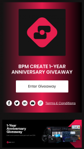 Bpm Create – 1-year Anniversary Giveaway Sweepstakes