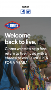 Clorox Company – Get Back Out There With Clorox – Win Cents ($3000.00).