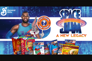 """General Mills – Space Jam Tune Tokens – Win one (1) """"At Home Movie Experience"""" prize package consisting of the following prizes one (1) projector with a portable screen"""