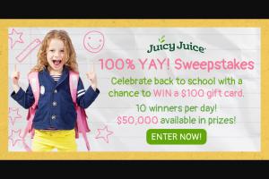 Harvest Hill Beverage Juicy Juice – 100% Yay Sweepstakes