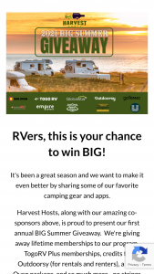Harvest Hosts – 2021 Summer Big Giveaway – Win the following (collectively