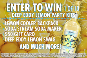 Heaven Hill – Deep Eddy Lemon Day – Win Prize pack that includes one (1) Soda Stream one (1) Backpack four (4) silicone cups one (1) $50 VISA Gift Card and various Deep Eddy swag