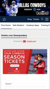 Hotelscom – Dallas Cowboys Season Tickets – Win parking pass one night stay $1000 gift card and calendar year Hotelscom membership