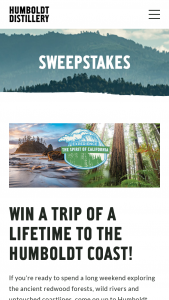 Humboldt Distillery – Trip Of A Lifetime To The Humboldt Coast Sweepstakes
