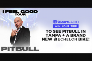 Iheart – Pitbull  Echelon Bike Giveaway – Win and one eligible guest to see Pitbull at the MidFlorida CU Amphitheater in Tampa Florida on October 13 2021.