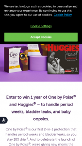 Kimberly-Clark – Win One By Poise And Huggies For A Year Sweepstakes