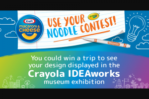 """Kraft Heinz Foods – Kraft Mac And Cheese Use Your Noodle Contest – Win a one-year supply of Kraft Macaroni & Cheese awarded as twenty-four (24) boxes and one (1) """"Crayola Prize Package"""" consisting of one (1) deluxe wooden art set"""