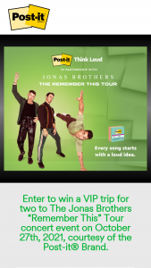"""3m Company – Post-It Brand And Jonas Brothers Concert Giveaway – Win Prize Package will include a VIP trip for two to The Jonas Brothers """"Remember This"""" Tour concert event on October 27th 2021."""