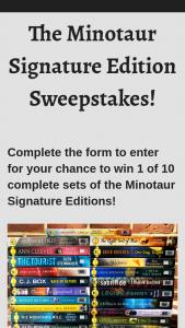 Macmillan – Minotaur Signature Edition – Win a(n) One (1) complete set of Minotaur Signature Edition paperbacks