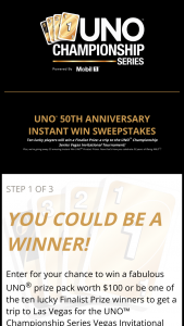 Mattel – Uno 50th Anniversary Instant Win – Win a three day/two night trip for two to Las Vegas