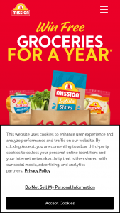 """Mission Foods – Win Free Groceries For A Year – Win consist of twelve (12) Kroger gift cards with each gift card having a value of $300 (""""Prize"""")."""