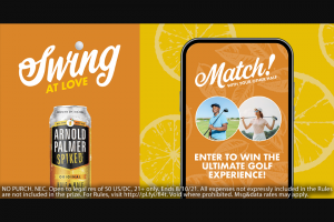 Molson Coors – Arnold Palmer Spiked Swing At Love Contest – Win (1) a four day/three night golf trip for two people – the winner and one guest who is at least twenty-one years old – to San Diego California