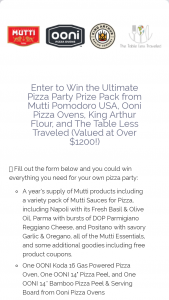 Mutti Pomodoro – Ultimate Pizza Party Prize Pack – Win A year's supply of Mutti products and additional Mutti swag