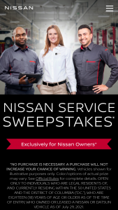 """Nissan North America – Nissan Service  – Win their choice of a new Nissan vehicle with an MSRP of up to $40000 (""""Prize Vehicle"""")."""