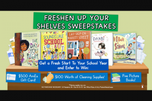 Penguin Random House – Freshen Up Your Shelves – Win 1 Cleaning Supplies (Prize Approximate Retail Value $100) 1 Five Books (Prize Approximate Retail Value $90) 1 AmEx Gift Card (Prize Approximate Retail Value $500)