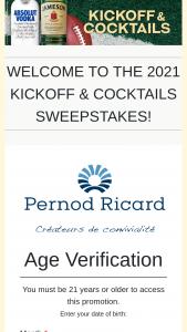 Pernod Ricard – USA Kickoff & Cocktails Sweepstakes