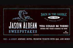 Premiere Networks – Jason Aldean Flyaway – Win a three (3) day/two (2) night trip for Winner and (1) guest (together
