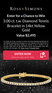 Ross-Simons – Decked In Diamonds – Win ct tw Diamond Tennis Bracelet in 14kt Yellow Gold