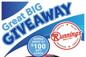Runnings – Great Big August Giveaway – Win $100 Runnings Gift Card (approximate retail value 100 USD).