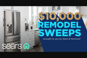 Sears & Kenmore – $10000 Remodel – Win Gift Cards ARV of the Grand Prize is $10000.