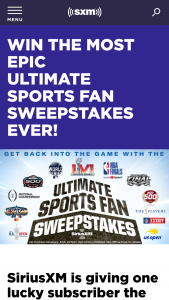 Siriusxm – Ultimate Sports Fan Sweepstakes