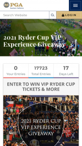 Southern California Pga – Vip Ryder Cup Tickets & More – Win two tickets each to the following days Tues