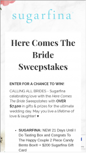 Sugarfina – Here Comes The Bride Sweepstakes