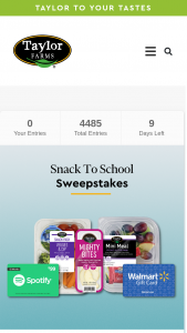 Taylor Farms – Snack To School 2021 – Win a shipment of Taylor Farms new Snacks