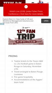 Texas Farm Bureau Insurance – 12th Fan Trip – Win Twelve tickets to the Texas A&M vs LSU football game in Baton Rouge on Saturday