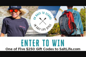The Salt Life – Go Back To School In Salt Life Style – Win a Two Hundred Fifty Dollar ($250.00) Gift Code to SaltLifecom