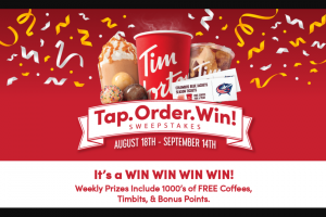 Tim Hortons – Tap Order Win – Win 1 $63.88 eGift card per month for 12 months