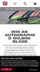 Wilsoncom – Autographed Blade – Win one of the following Wilson endorsed athletes Stefanos Tsitsipas Simona Halep David Goffin Serena Williams Milos Raonic or Alex De Minaur
