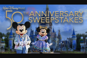 ABC – The View's Walt Disney World 50th Anniversary Trip – Win one (1) vacation package(s) for four (4) persons for four (4) nights and five (5) days at the Walt Disney World® Resort to be awarded to the winner(s) of the sweepstakes