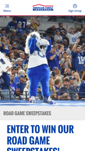 American Family Insurance – Indianapolis Colts Road Game Experience Sweepstakes