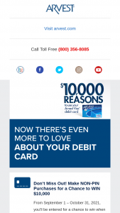 Arvest – Consumer VISA Debit Card – Win also include $3400 cash (awarded in the form of a check to winner) that can be used toward the payment of income taxes associated with the prize