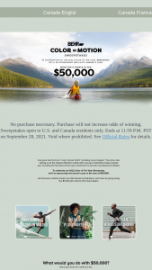 Behr – Color In Motion – Win one USD $50000/CDN $63137 cash prize (awarded in the form of a check).