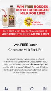 Borden Dairy – World's Best Chocolate Milk – Win a $2500 gift card