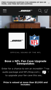 Bose – Nfl Fan Cave Upgrade Sweepstakes