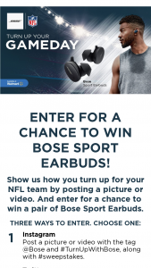 Bose – Turn Up With Bose Sweepstakes