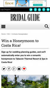 Bridal Guide – Honeymoon To Costa Rica Tabacon Thermal Resort & Spa Sweepstakes
