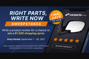 Carpartscom – Right Parts Write Now Sweepstakes