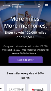 Cartera United Airline – Mileageplus Shopping 2021 – Win MileagePlus award miles credited to winner's account and a check for $2500.